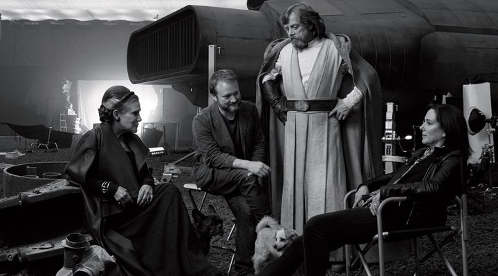 Rian Johnson, Carrie Fisher, Mark Hamill y Kathleen Kennedy