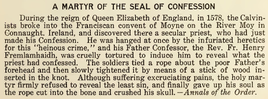 A Martyr of the Seal of Confession - February 1916