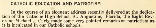 Catholic Education and Patriotism - July 1916
