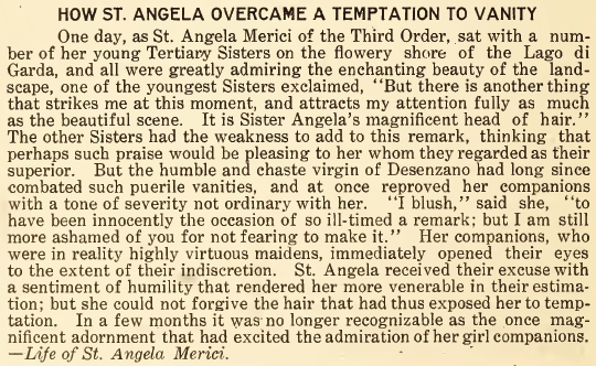 How St. Angela Overcame a Temptation to Vanity - July 1916