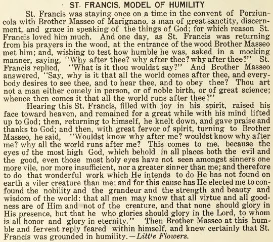 St. Francis, Model of Humility - October 1916