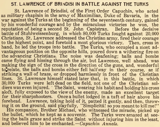 St. Lawrence of Brindisi in Battle against the Turks - July 1916