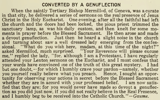 Converted by a Genuflection - August 1917 - Franciscan Herald