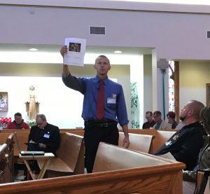 Seminarian Ben Daghir leads presentation at annual diocesan retreat
