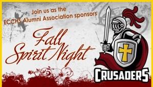 """ECC Alumni Association """"Fall Spirit Night"""" to be held Friday, October 12"""