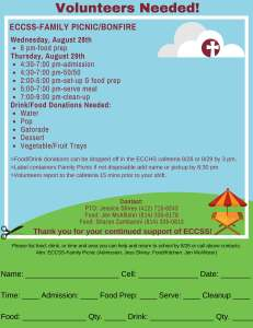 ECCSS-Family Picnic/Bonfire Timeline & Volunteer Information