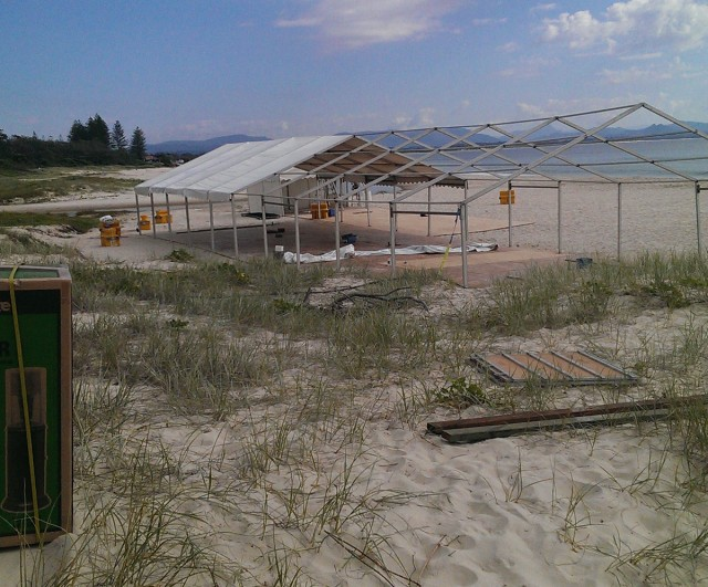 The appearance of this structure on Clarkes Beach ahead of a function has concerned locals. Photo Chris Brady