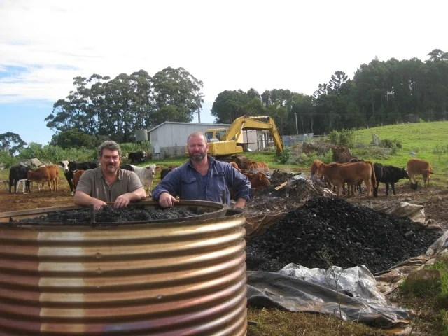 Don Coyne, left, and Kelvin Daly at the kiln which will produce biochar to add to the cow's feed.