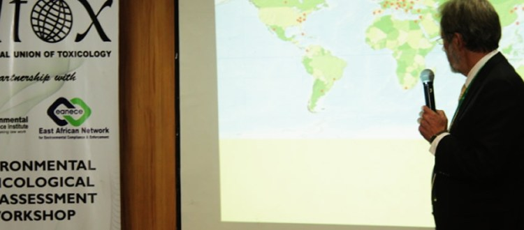 Dr Herman Autrup making a presentation on introduction on environmental risk assessment process and hazard vs. risk