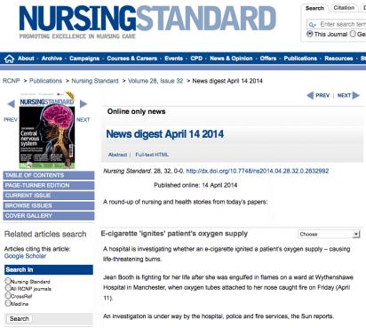 Nursing Standard E Cigarette Fire