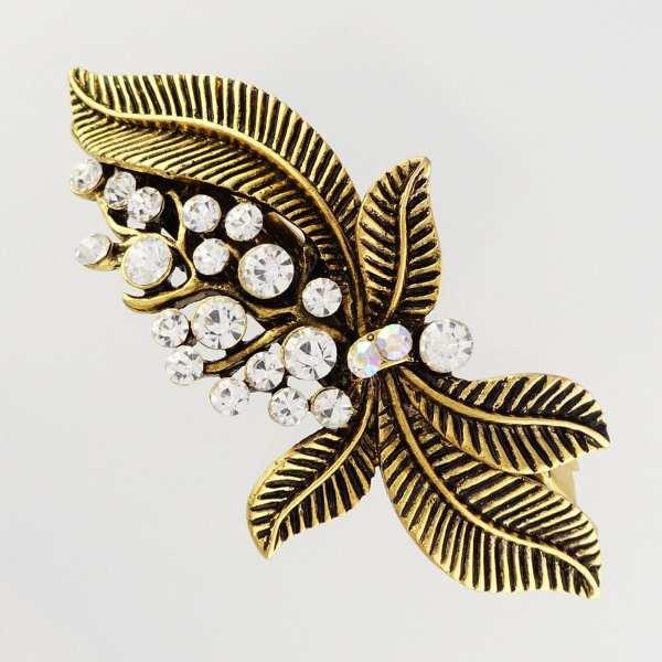 Grande barrette à cheveux doré feuilles Imani