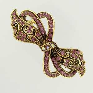 Petite barrette à cheveux dorée ruban Lisba