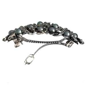 Grande barrette à cheveux argenté perles Valia