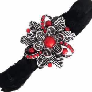 Chouchou velours noir Nina – Métal argenté