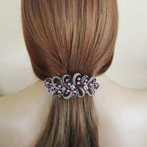Grande barrette à cheveux argenté Nitia