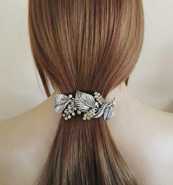 Grande barrette à cheveux argenté Yuko