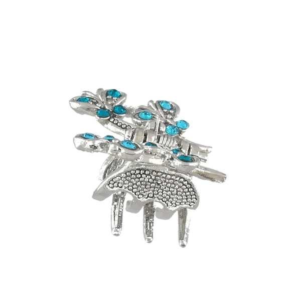 Petite pince à cheveux crabe argentée Isya