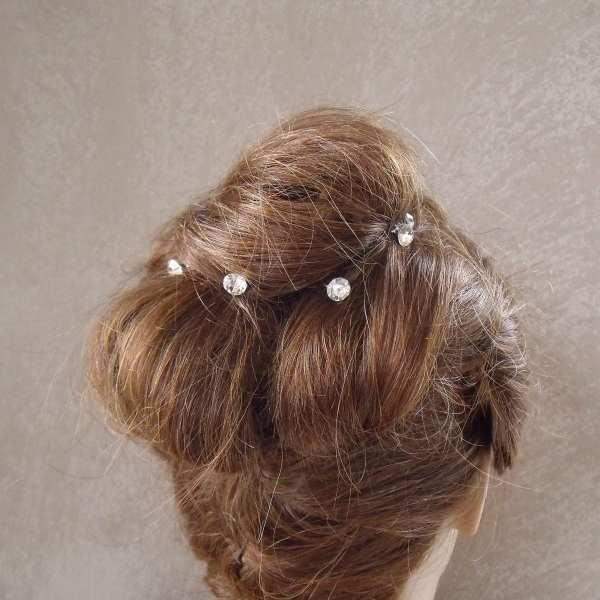 5 Epingles à cheveux strass cristal 8 mm