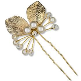 Epingle à Cheveux Dorée Perles et Strass Flo