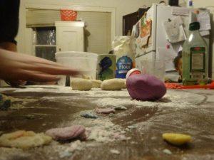 kitchen table making dough