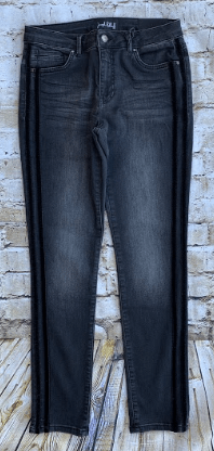 Joseph Ribkoff Black Jean With Velour Double Strip Down The Side