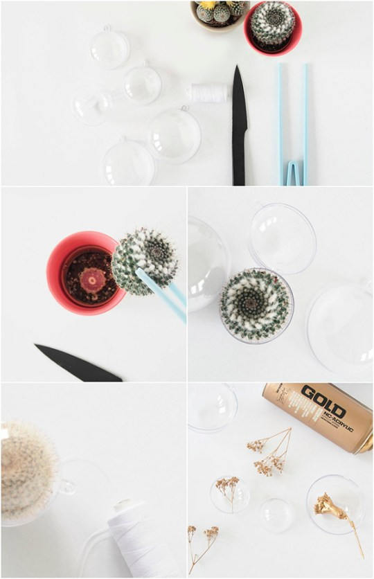 DIY Cacti Christmas Ornaments - monsterscircus tutorial for Eclectic Trends