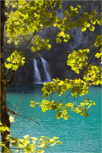 Falls at the Plitvice Lakes, Croatia, clear blue water, travel photography