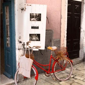 The red bike, Rovinj, Croatia, art gallery, travel photography
