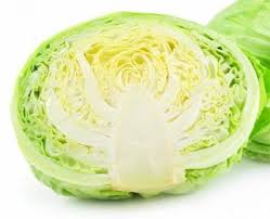 green organic cabbage cut in half
