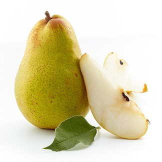 one organic pear sugar belle one cut with leaf in front