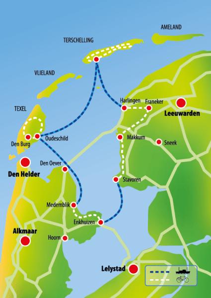 routekaart fiets en boot Noord-Nederland