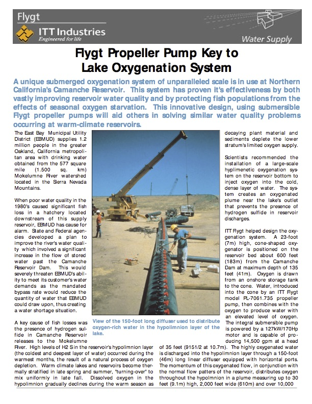Propeller Pump Key to Lake Oxygenation System