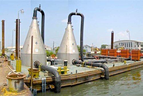 ECO2 cones mounted on stationary barge
