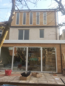 The roof is on top of this single storey extension