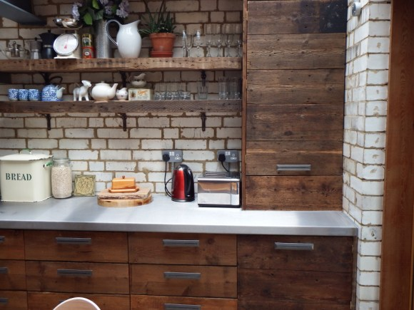 Boiler and washing machine cabinets in reclaimed wood