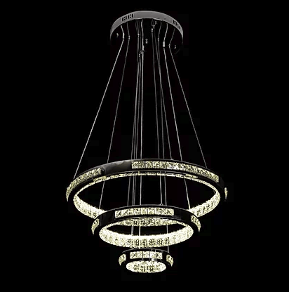 Hanging 3 Ring Crystal Chandelier