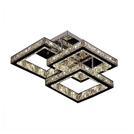 Flush Triple Square Crystal Chandelier
