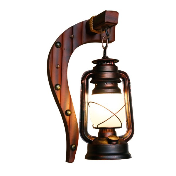 Wood Lantern Wall Light - W3026