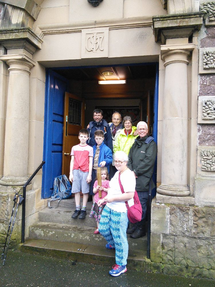 Baton leaving Callander Kirk for pilgrimage to Trossachs