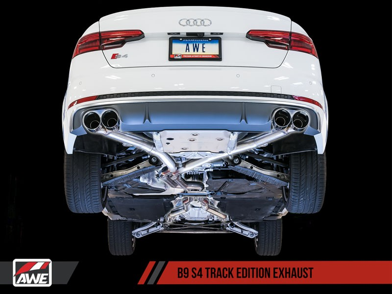 awe track edition exhaust for audi b9 s4 non resonated chrome silver 102mm tips