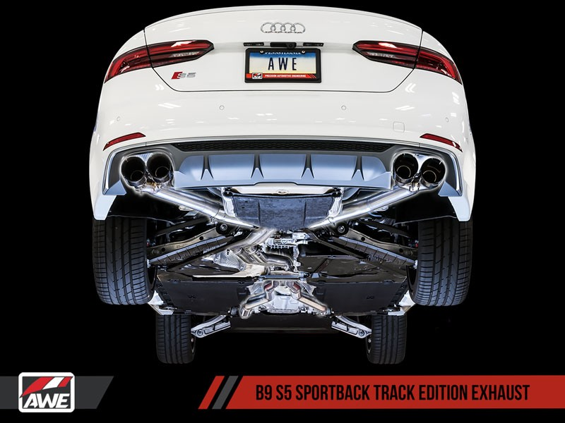 awe track edition exhaust for audi b9 s5 sportback non resonated black 102mm tips