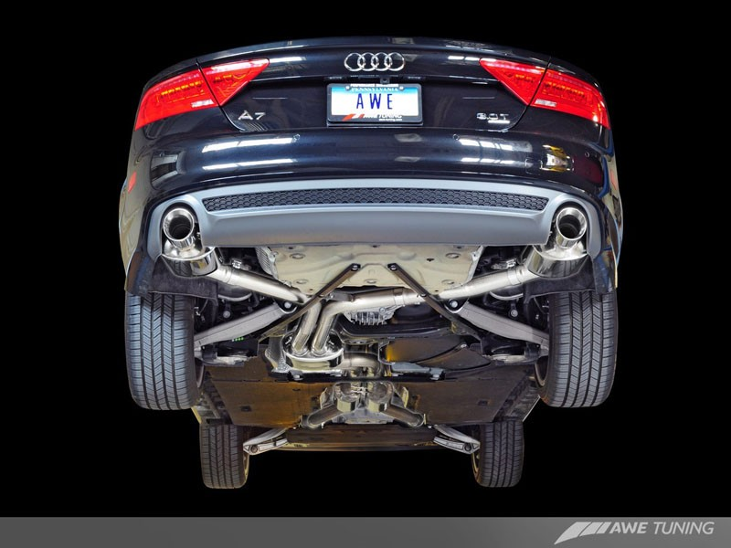 awe touring edition exhaust for audi c7 a7 3 0t dual outlet diamond black tips