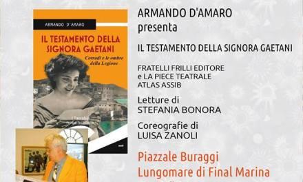 """Nella 20^ edizione di """"Un libro per l'estate"""", D'Amaro presenta """"Il testamento della signora Gaetani"""""""