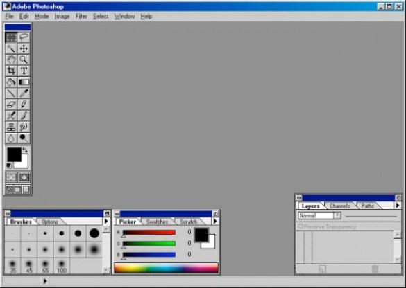 1994 - Adobe Photoshop versão 3.0 - área de trabalho