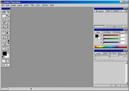 1998 - Adobe Photoshop versão 5.0 - área de trabalho