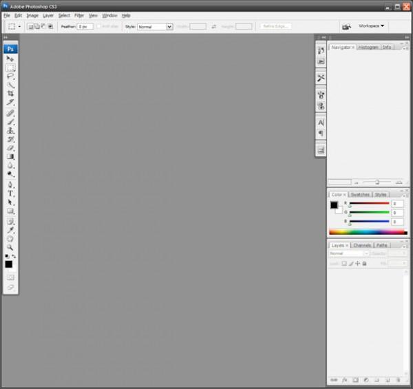 2007 - Adobe Photoshop versão CS3 - área de trabalho