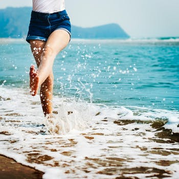 going barefoot by the sea