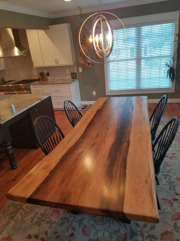 Poplar slab Dining Table