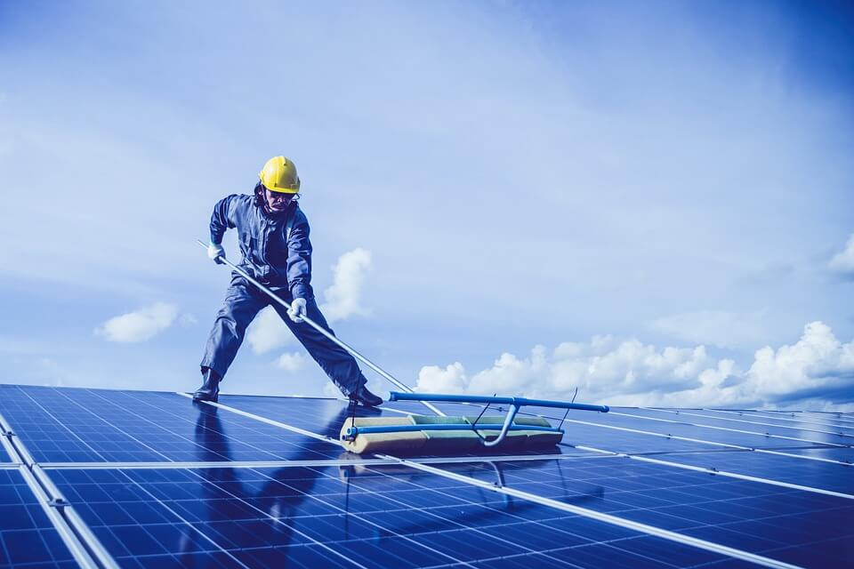 step to cleaning solar panel