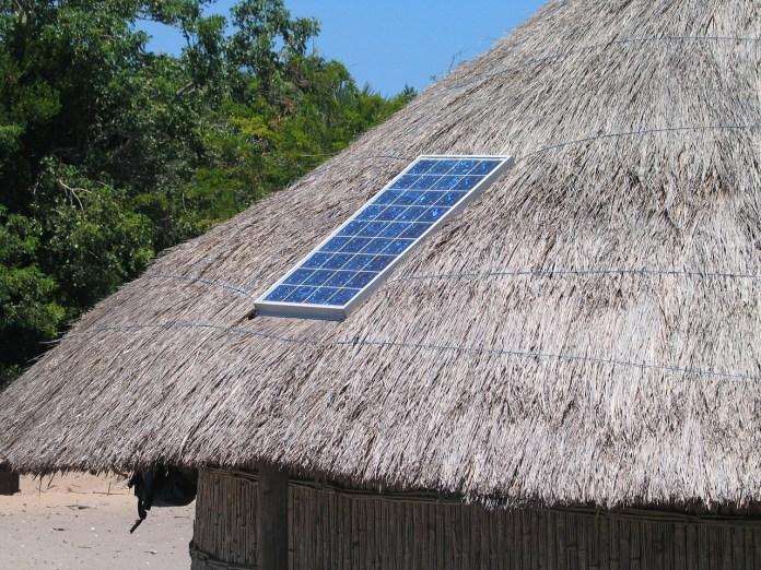 Solar panel in village